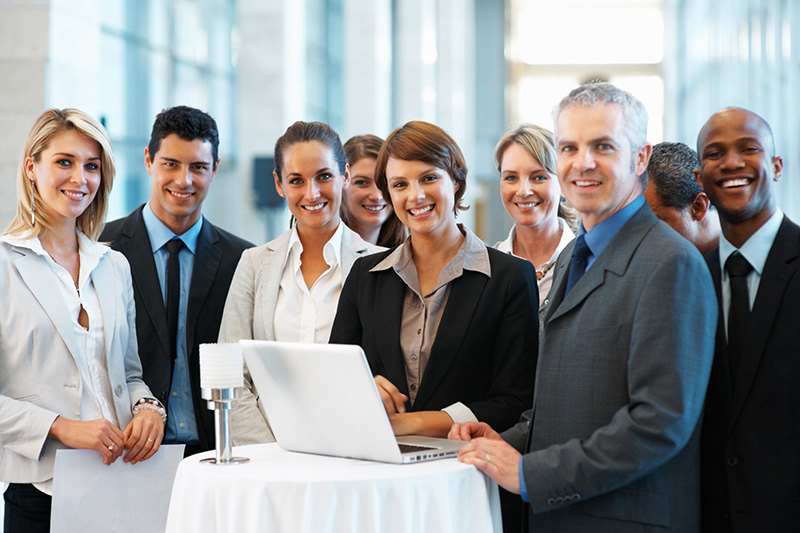 Group of business professionals at a networking event