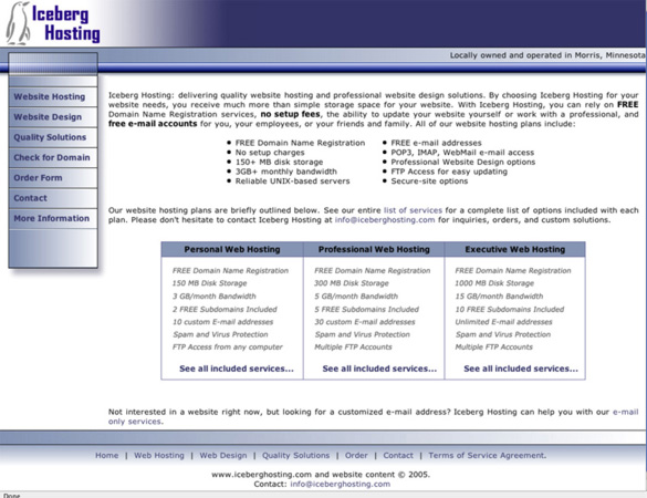 Iceberg Hosting - What the Website Looked Like in 2005