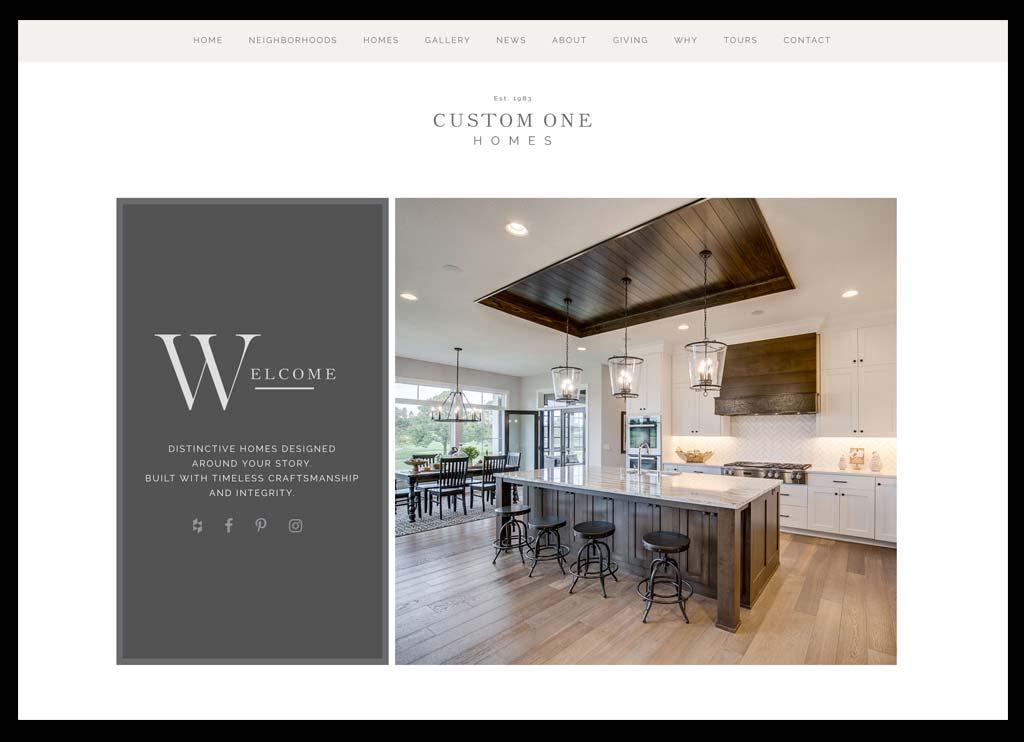 Custom One Homes website