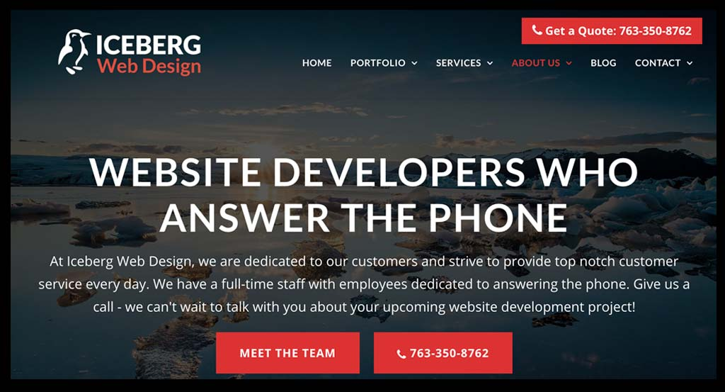 Screenshot of website with phone number prominently placed