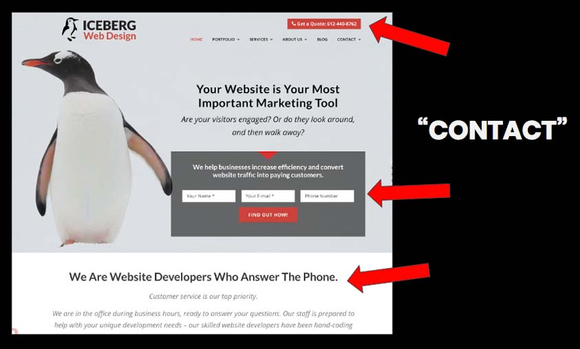 """Our website uses """"CONTACT"""" as our primary verb, and we make this clear by using the language, and placing links to call and email in many places"""