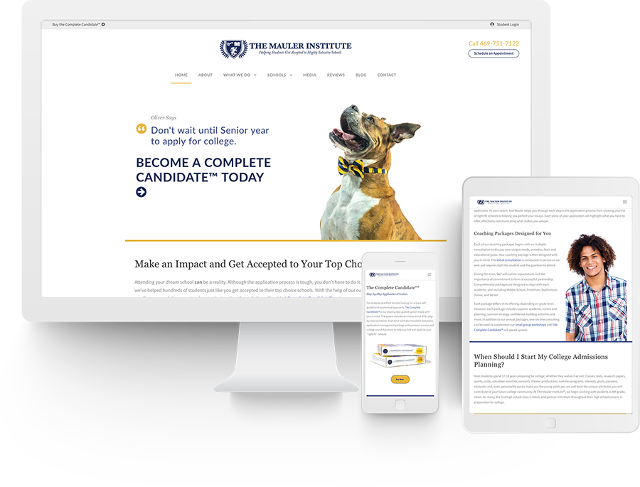Responsive website design for The Mauler Institute
