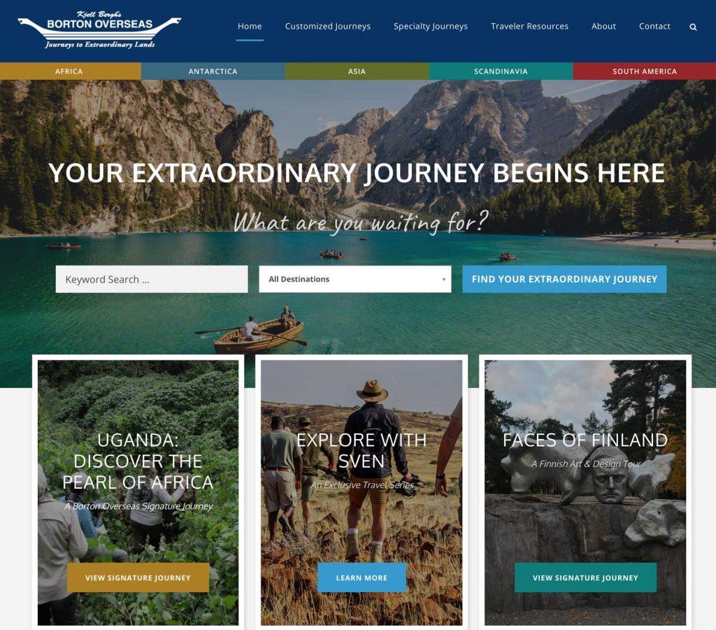 Borton Overseas website using mixed font faces