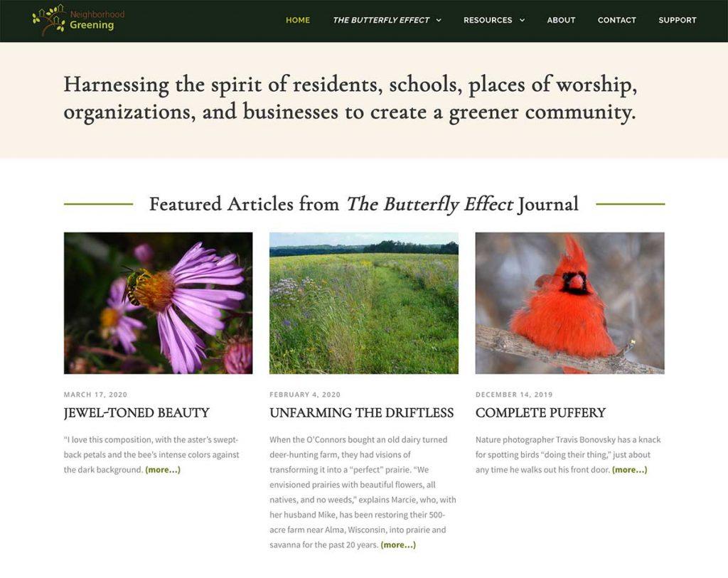 Neighborhood Greening Website Serif Typography