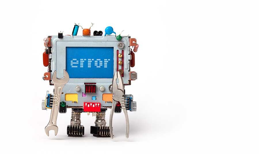 Robot displaying an error message