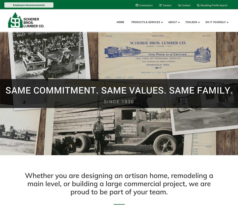 Scherer Bros. Lumber website screeshot showing use of typography in design