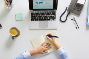 Businesswoman Hands Writing To Notebook At Office Pm9a5nn