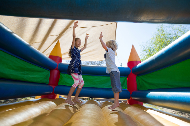bounce house with children