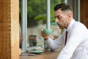 Profile View Of Handsome Businessman At The Coffee Qu2kmt9